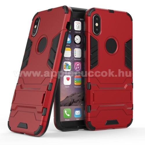 TRANSFORM műanyag védő tok / hátlap - PIROS - szilikon betétes, kitámasztható - ERŐS VÉDELEM! - APPLE iPhone X / APPLE iPhone XS
