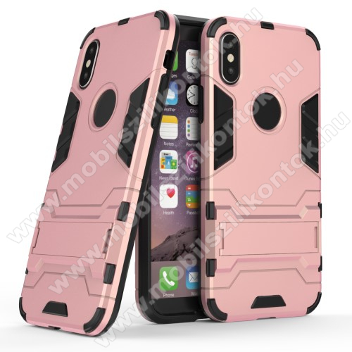 TRANSFORM műanyag védő tok / hátlap - ROSE GOLD - szilikon betétes, kitámasztható - ERŐS VÉDELEM! - APPLE iPhone X / APPLE iPhone XS