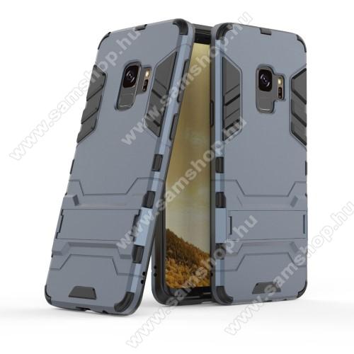 TRANSFORM műanyag védő tok / hátlap - SÖTÉTKÉK - szilikon betétes, kitámasztható - ERŐS VÉDELEM! - SAMSUNG SM-G960 Galaxy S9