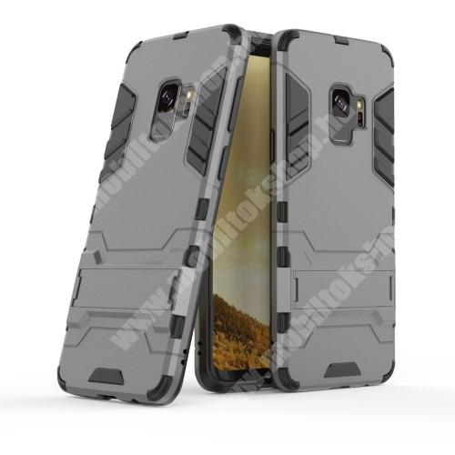 TRANSFORM műanyag védő tok / hátlap - SZÜRKE - szilikon betétes, kitámasztható - ERŐS VÉDELEM! - SAMSUNG SM-G960 Galaxy S9