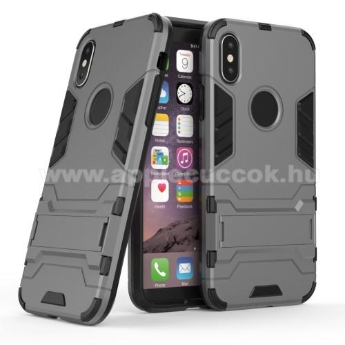 TRANSFORM műanyag védő tok / hátlap - SZÜRKE - szilikon betétes, kitámasztható - ERŐS VÉDELEM! - APPLE iPhone X / APPLE iPhone XS