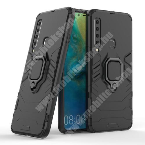 TRANSFORM PRO műanyag védő tok / hátlap - FEKETE - szilikon betétes, kitámasztható, fém ujjgyűrűvel - ERŐS VÉDELEM! - SAMSUNG Galaxy A9 (2018)