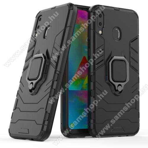 TRANSFORM PRO műanyag védő tok / hátlap - FEKETE - szilikon betétes, kitámasztható, fém ujjgyűrűvel, tapadófelület mágneses autós tartóhoz - ERŐS VÉDELEM! - SAMSUNG SM-M205F Galaxy M20