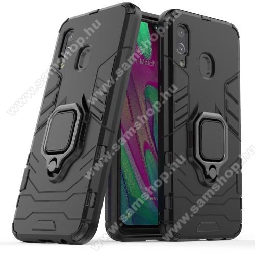 TRANSFORM PRO műanyag védő tok / hátlap - FEKETE - szilikon betétes, kitámasztható, fém ujjgyűrűvel, tapadófelület mágneses autós tartóhoz - ERŐS VÉDELEM! - SAMSUNG SM-A405F Galaxy A40