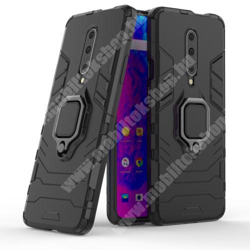 TRANSFORM PRO műanyag védő tok / hátlap - FEKETE - szilikon betétes, kitámasztható, fém ujjgyűrűvel, tapadófelület mágneses autós tartóhoz - ERŐS VÉDELEM! - OnePlus 7 Pro