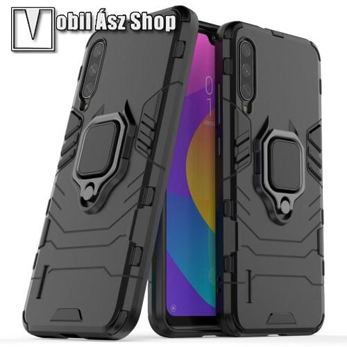 TRANSFORM PRO műanyag védő tok / hátlap - FEKETE - szilikon betétes, kitámasztható, fém ujjgyűrűvel, tapadófelület mágneses autós tartóhoz - ERŐS VÉDELEM! - Xiaomi Mi CC9e / Xiaomi Mi A3