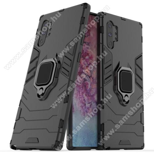 TRANSFORM PRO műanyag védő tok / hátlap - FEKETE - szilikon betétes, kitámasztható, fém ujjgyűrűvel, tapadófelület mágneses autós tartóhoz - ERŐS VÉDELEM! - SAMSUNG Galaxy Note10 Plus (SM-N975F) / SAMSUNG Galaxy Note10 Plus 5G (SM-N976F)