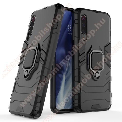 TRANSFORM PRO műanyag védő tok / hátlap - FEKETE - szilikon betétes, kitámasztható, fém ujjgyűrűvel - ERŐS VÉDELEM! - Xiaomi Mi 9 Pro / Xiaomi Mi 9 Pro 5G