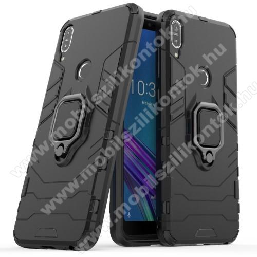 TRANSFORM PRO műanyag védő tok / hátlap - FEKETE - szilikon betétes, kitámasztható, fém ujjgyűrűvel, tapadófelület mágneses autós tartóhoz - ERŐS VÉDELEM! - ASUS Zenfone Max Pro (M1) (ZB601KL) / ASUS Zenfone Max Pro (M1) (ZB602KL)