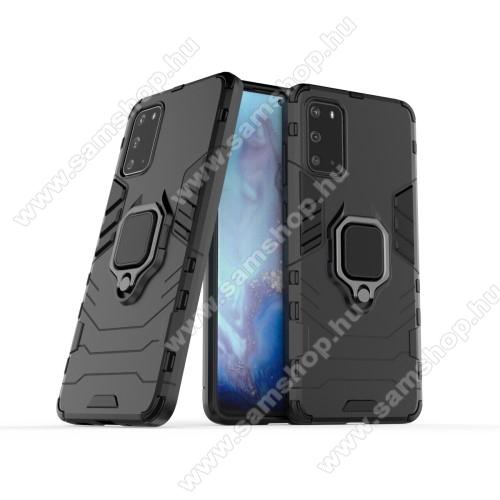TRANSFORM PRO műanyag védő tok / hátlap - FEKETE - szilikon betétes, kitámasztható, fém ujjgyűrűvel - ERŐS VÉDELEM! - SAMSUNG Galaxy S20 Plus (SM-G985F) / Galaxy S20 Plus 5G (SM-G986)