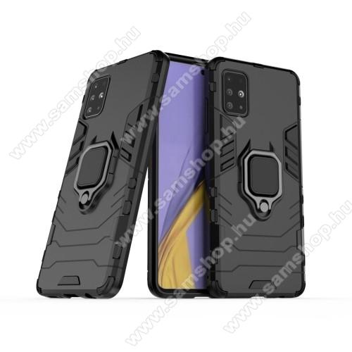 TRANSFORM PRO műanyag védő tok / hátlap - FEKETE - szilikon betétes, kitámasztható, fém ujjgyűrűvel - ERŐS VÉDELEM! - SAMSUNG Galaxy A51 (SM-A515F)