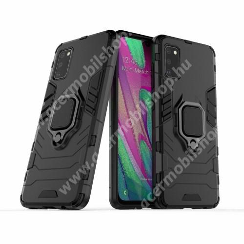 TRANSFORM PRO műanyag védő tok / hátlap - FEKETE - szilikon betétes, kitámasztható, fém ujjgyűrűvel, tapadófelület mágneses autós tartóhoz - ERŐS VÉDELEM! - SAMSUNG Galaxy A41 (SM-A415F)