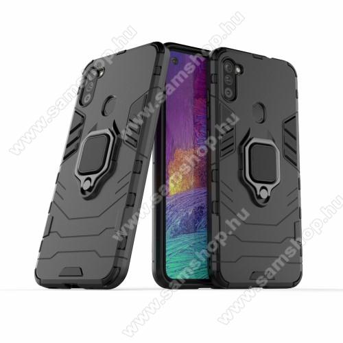 TRANSFORM PRO műanyag védő tok / hátlap - FEKETE - szilikon betétes, kitámasztható, fém ujjgyűrűvel, tapadófelület mágneses autós tartóhoz - ERŐS VÉDELEM! - SAMSUNG Galaxy M11 (SM-M115F) / SAMSUNG Galaxy A11 (SM-A115F)