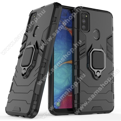 TRANSFORM PRO műanyag védő tok / hátlap - FEKETE - szilikon betétes, kitámasztható, fém ujjgyűrűvel, tapadófelület mágneses autós tartóhoz - ERŐS VÉDELEM! - SAMSUNG Galaxy M30s (SM-M307F) / SAMSUNG Galaxy M21 (SM-M215F)