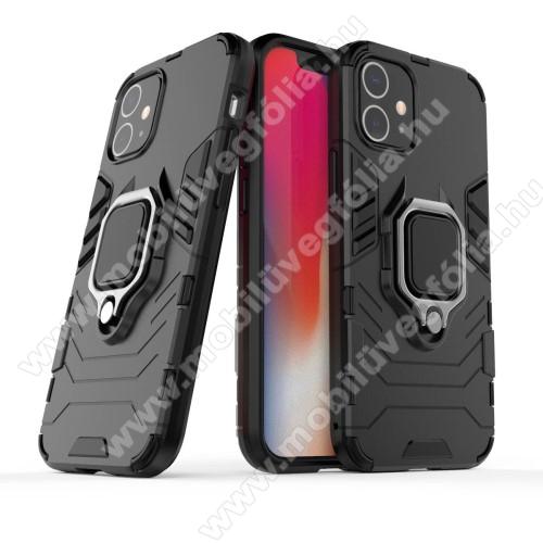 TRANSFORM PRO műanyag védő tok / hátlap - FEKETE - szilikon betétes, kitámasztható, fém ujjgyűrűvel, tapadófelület mágneses autós tartóhoz - ERŐS VÉDELEM! - APPLE iPhone 12 / APPLE iPhone 12 Pro
