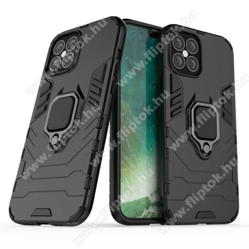 TRANSFORM PRO műanyag védő tok / hátlap - FEKETE - szilikon betétes, kitámasztható, fém ujjgyűrűvel, tapadófelület mágneses autós tartóhoz - ERŐS VÉDELEM! - APPLE iPhone 12 Pro Max