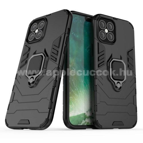 APPLE iPhone 12 Pro MaxTRANSFORM PRO műanyag védő tok / hátlap - FEKETE - szilikon betétes, kitámasztható, fém ujjgyűrűvel, tapadófelület mágneses autós tartóhoz - ERŐS VÉDELEM! - APPLE iPhone 12 Pro Max
