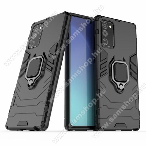 TRANSFORM PRO műanyag védő tok / hátlap - FEKETE - szilikon betétes, kitámasztható, fém ujjgyűrűvel, tapadófelület mágneses autós tartóhoz - ERŐS VÉDELEM! - SAMSUNG Galaxy Note20 5G (SM-N981B/DS)