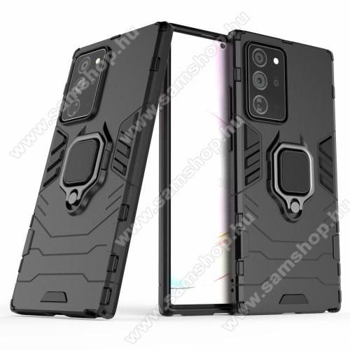 TRANSFORM PRO műanyag védő tok / hátlap - FEKETE - szilikon betétes, kitámasztható, fém ujjgyűrűvel, tapadófelület mágneses autós tartóhoz - ERŐS VÉDELEM! - SAMSUNG Galaxy Note20 Ultra (SM-N985F)