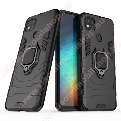 TRANSFORM PRO műanyag védő tok / hátlap - FEKETE - szilikon betétes, kitámasztható, fém ujjgyűrűvel, tapadófelület mágneses autós tartóhoz - ERŐS VÉDELEM! - Xiaomi Redmi 9C / Redmi 9C NFC