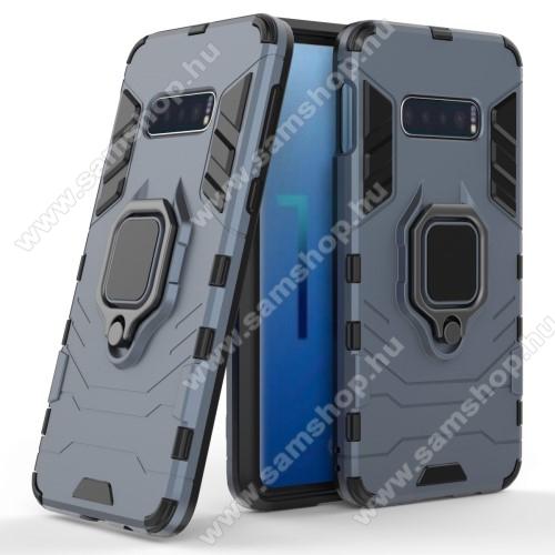 TRANSFORM PRO műanyag védő tok / hátlap - KÉK - szilikon betétes, kitámasztható, fém ujjgyűrűvel, tapadófelület mágneses autós tartóhoz - ERŐS VÉDELEM! - SAMSUNG SM-G970F Galaxy S10e