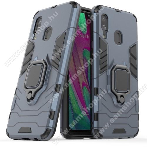TRANSFORM PRO műanyag védő tok / hátlap - KÉK - szilikon betétes, kitámasztható, fém ujjgyűrűvel, tapadófelület mágneses autós tartóhoz - ERŐS VÉDELEM! - SAMSUNG SM-A405F Galaxy A40