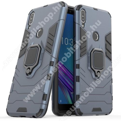 TRANSFORM PRO műanyag védő tok / hátlap - KÉK - szilikon betétes, kitámasztható, fém ujjgyűrűvel, tapadófelület mágneses autós tartóhoz - ERŐS VÉDELEM! - ASUS Zenfone Max Pro (M1) (ZB601KL) / ASUS Zenfone Max Pro (M1) (ZB602KL)