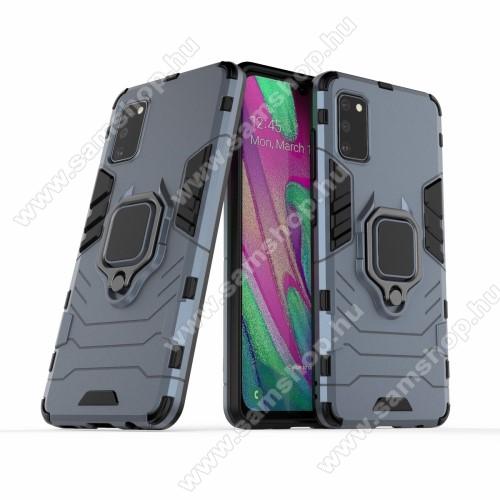 TRANSFORM PRO műanyag védő tok / hátlap - KÉK - szilikon betétes, kitámasztható, fém ujjgyűrűvel, tapadófelület mágneses autós tartóhoz - ERŐS VÉDELEM! - SAMSUNG Galaxy A41 (SM-A415F)