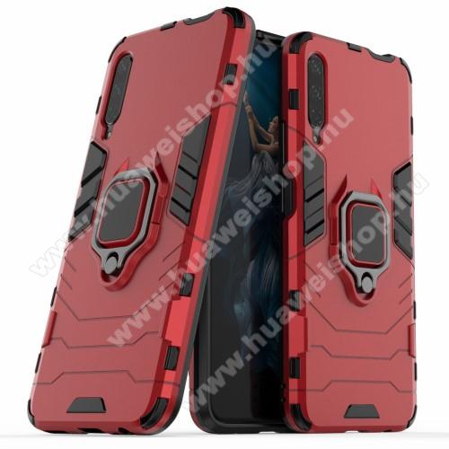 TRANSFORM PRO műanyag védő tok / hátlap - PIROS - szilikon betétes, kitámasztható, fém ujjgyűrűvel, tapadófelület mágneses autós tartóhoz - ERŐS VÉDELEM! - HUAWEI P smart Pro (2019) / HUAWEI Y9s / Honor 9X (For China market) / Honor 9X Pro (For China)