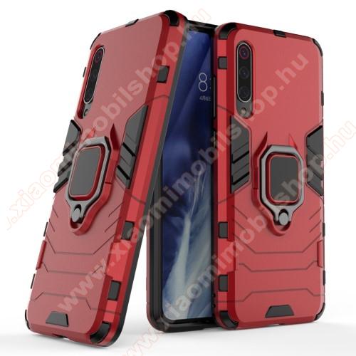 TRANSFORM PRO műanyag védő tok / hátlap - PIROS - szilikon betétes, kitámasztható, fém ujjgyűrűvel - ERŐS VÉDELEM! - Xiaomi Mi 9 Pro / Xiaomi Mi 9 Pro 5G