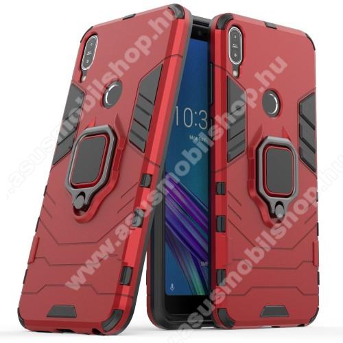 TRANSFORM PRO műanyag védő tok / hátlap - PIROS - szilikon betétes, kitámasztható, fém ujjgyűrűvel, tapadófelület mágneses autós tartóhoz - ERŐS VÉDELEM! - ASUS Zenfone Max Pro (M1) (ZB601KL) / ASUS Zenfone Max Pro (M1) (ZB602KL)