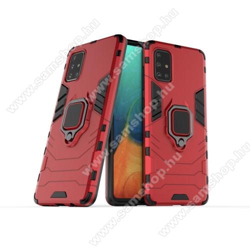 TRANSFORM PRO műanyag védő tok / hátlap - PIROS - szilikon betétes, kitámasztható, fém ujjgyűrűvel - ERŐS VÉDELEM! - SAMSUNG Galaxy A71 (SM-A715F)