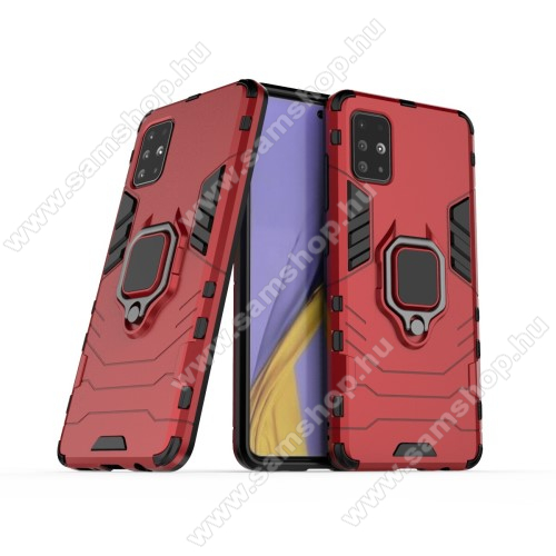 TRANSFORM PRO műanyag védő tok / hátlap - PIROS - szilikon betétes, kitámasztható, fém ujjgyűrűvel - ERŐS VÉDELEM! - SAMSUNG Galaxy A51 (SM-A515F)
