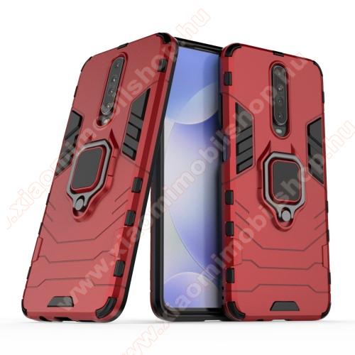 TRANSFORM PRO műanyag védő tok / hátlap - PIROS - szilikon betétes, kitámasztható, fém ujjgyűrűvel - ERŐS VÉDELEM! - Xiaomi Redmi K30 / Xiaomi Redmi K30 5G / Xiaomi Poco X2 / Redmi K30i 5G