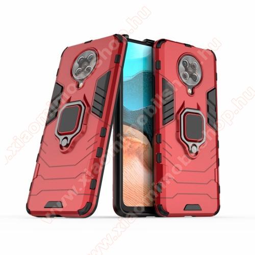 TRANSFORM PRO műanyag védő tok / hátlap - PIROS - szilikon betétes, kitámasztható, fém ujjgyűrűvel, tapadófelület mágneses autós tartóhoz - ERŐS VÉDELEM! - Xiaomi Redmi K30 Pro / Xiaomi Redmi K30 Pro Zoom / Xiaomi Poco F2 Pro