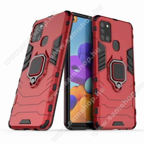 TRANSFORM PRO műanyag védő tok / hátlap - PIROS - szilikon betétes, kitámasztható, fém ujjgyűrűvel, tapadófelület mágneses autós tartóhoz - ERŐS VÉDELEM! - SAMSUNG SM-A217F Galaxy A21s