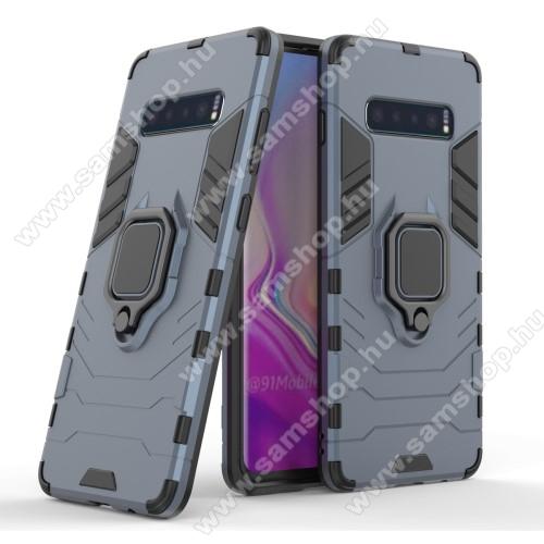 TRANSFORM PRO műanyag védő tok / hátlap - SÖTÉTKÉK - szilikon betétes, kitámasztható, fém ujjgyűrűvel - ERŐS VÉDELEM! - SAMSUNG SM-G975F Galaxy S10+