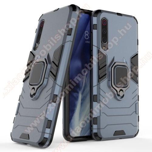 TRANSFORM PRO műanyag védő tok / hátlap - SÖTÉTKÉK - szilikon betétes, kitámasztható, fém ujjgyűrűvel - ERŐS VÉDELEM! - Xiaomi Mi 9 Pro / Xiaomi Mi 9 Pro 5G