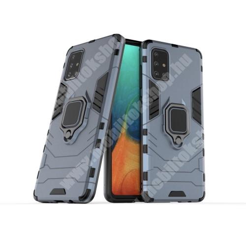 TRANSFORM PRO műanyag védő tok / hátlap - SÖTÉTKÉK - szilikon betétes, kitámasztható, fém ujjgyűrűvel - ERŐS VÉDELEM! - SAMSUNG Galaxy A71 (SM-A715F)