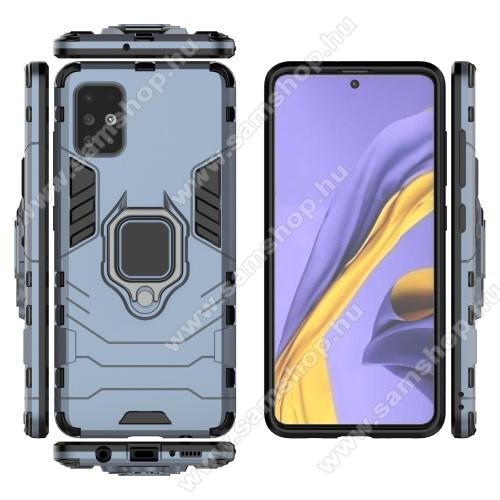 TRANSFORM PRO műanyag védő tok / hátlap - SÖTÉTKÉK - szilikon betétes, kitámasztható, fém ujjgyűrűvel - ERŐS VÉDELEM! - SAMSUNG Galaxy A51 (SM-A515F)