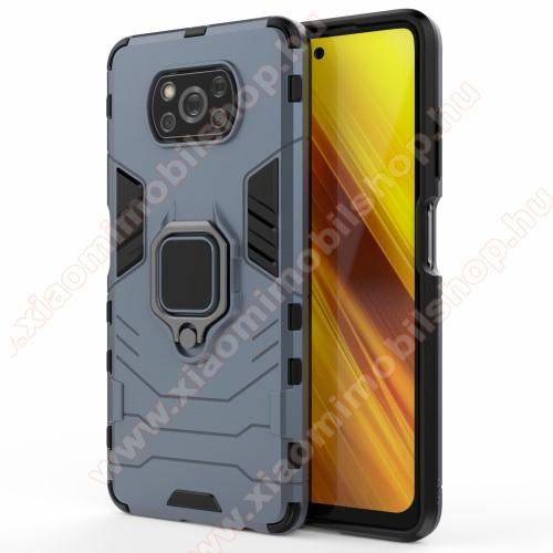 TRANSFORM PRO műanyag védő tok / hátlap - SÖTÉTKÉK - szilikon betétes, kitámasztható, fém ujjgyűrűvel, tapadófelület mágneses autós tartóhoz - ERŐS VÉDELEM! - Xiaomi Poco X3 / Poco X3 NFC