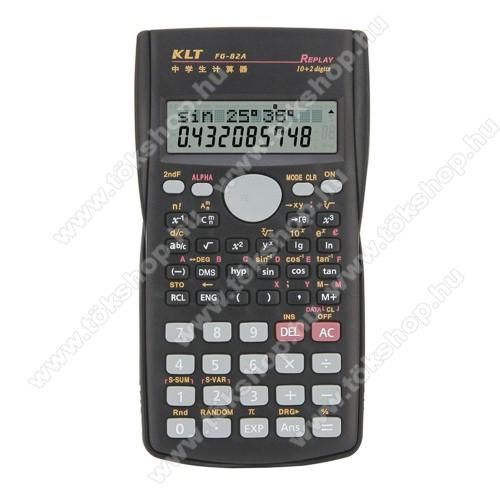 Tudományos számológép - 240 műveleti funkció, nagy 2 soros LCD kijelző, csúszásgátló, műanyag védőfedéllel a por és karcolás elkerülése ellen, 2x AAA elemmel működik (NEM TARTOZÉK), 156 x 84 x 18mm - FEKETE