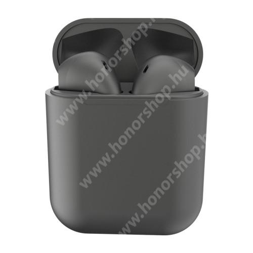 TWS SZTEREO BLUETOOTH HEADSET - v5.0, többfunkciós gomb, mikrofon, zajszűrő, támogatja az fülhallgató külön használatát, 3 óra zenehallgatási idő, 300mAh töltőtok - TITÁNSZÜRKE