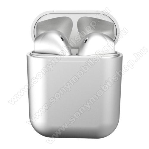 TWS SZTEREO BLUETOOTH HEADSET - v5.0, többfunkciós gomb, mikrofon, zajszűrő, támogatja az fülhallgató külön használatát, 3 óra zenehallgatási idő, 300mAh töltőtok - FEHÉR