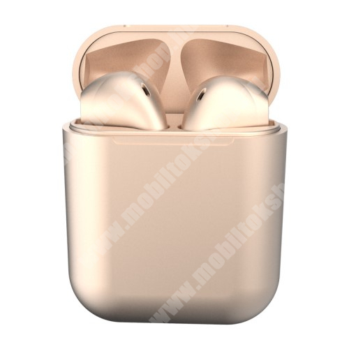 TWS SZTEREO BLUETOOTH HEADSET - v5.0, többfunkciós gomb, mikrofon, zajszűrő, támogatja az fülhallgató külön használatát, 3 óra zenehallgatási idő, 300mAh töltőtok - ARANY