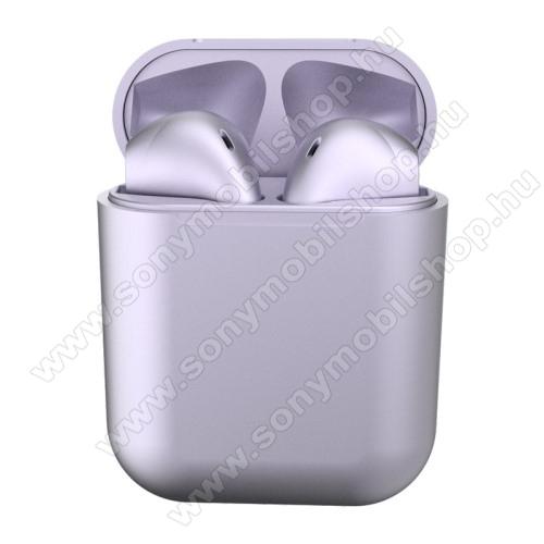 TWS SZTEREO BLUETOOTH HEADSET - v5.0, többfunkciós gomb, mikrofon, zajszűrő, támogatja az fülhallgató külön használatát, 3 óra zenehallgatási idő, 300mAh töltőtok - LILA