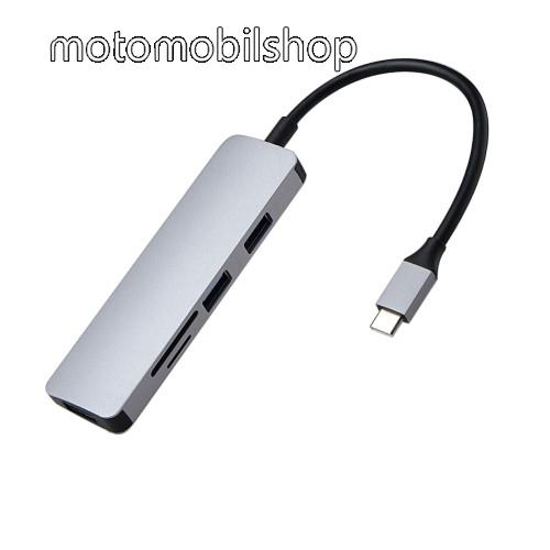 Type-C USB elosztó / memóriakártya olvasó -  3x USB3.0 + 1x SD kártyaolvasó, 1x TF kártyaolvasó, max 5W, USB 3.0 portok akár 5 Gbps sebességű adatátvitelt is biztosítanak - SZÜRKE