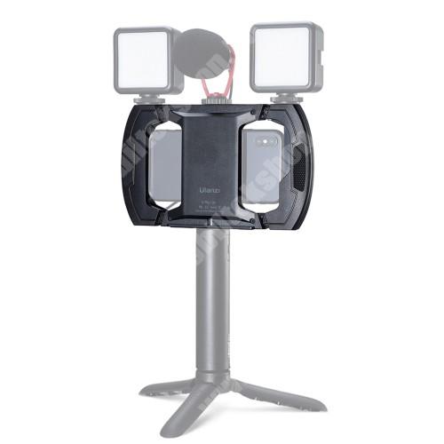 """HomTom C13 Ulanzi U-Rig UNIVERZÁLIS telefon tartó fotózáshoz - 3 extra 1/4""""-es csatlakozó a tetején, max 165 mm-es bölcsővel, univerzális 1/4""""-es csatlakozó, csuklópánttal - FEKETE - 186 x 119 mm"""