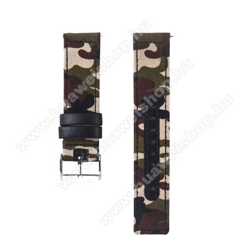 HUAWEI Watch GTUNIVERZÁLIS 20mm-es okosóra szíj - szövet / valódi bőr, 85mm + 95mm hosszú, 19mm széles - TEREPMINTÁS