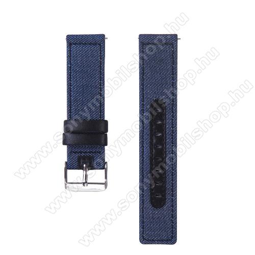 UNIVERZÁLIS 20mm-es okosóra szíj - szövet / valódi bőr, 85mm + 95mm hosszú, 20mm széles - KÉK / FEKETE - SAMSUNG Galaxy Watch 42mm / Xiaomi Amazfit GTS / SAMSUNG Gear S2 / HUAWEI Watch GT 2 42mm / Galaxy Watch Active / Active 2